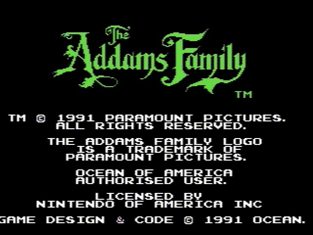 Addams Family, The game