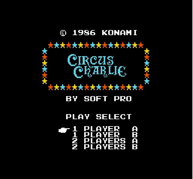 "Home of hacked roms: ""circus charlie (nes)"" infinite life."