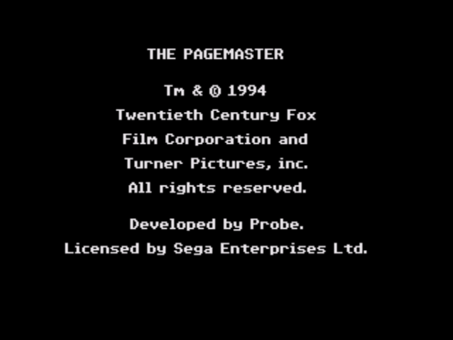 Pagemaster, The (Beta) on sega