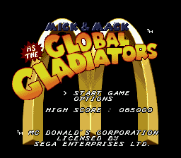 Mick & Mack as the Global Gladiators on sega