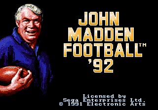 John Madden Football '92 (USA, Europe)