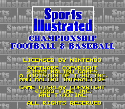 Sports Illustrated Championship Football & Baseball (Beta)