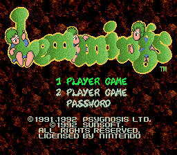 Lemmings (Europe) on snes